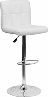Flash Furniture Contemporary White Quilted Vinyl Adjustable Height Barstool with Chrome Base