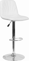 Flash Furniture Contemporary White Vinyl Adjustable Height Barstool with Chrome Base