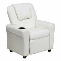 Flash Furniture Contemporary White Vinyl Kids Recliner with Cup Holder and Headrest