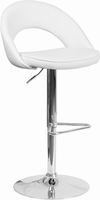 Flash Furniture Contemporary White Vinyl Rounded Back Adjustable Height Barstool with Chrome Base