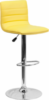 Flash Furniture Contemporary Yellow Vinyl Adjustable Height Barstool with Chrome Base