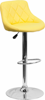 Flash Furniture Contemporary Yellow Vinyl Bucket Seat Adjustable Height Barstool with Chrome Base