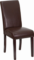 Flash Furniture Dark Brown Leather Upholstered Parsons Chair
