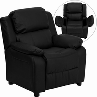 Flash Furniture Deluxe Padded Contemporary Black Leather Kids Recliner with Storage Arms
