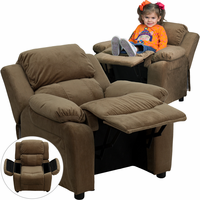 Flash Furniture Deluxe Padded Contemporary Brown Microfiber Kids Recliner with Storage Arms