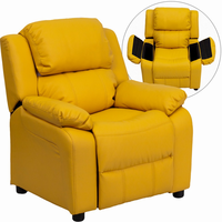 Flash Furniture Deluxe Padded Contemporary Yellow Vinyl Kids Recliner with Storage Arms