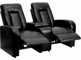 Flash Furniture Eclipse Series 2-Seat Motorized, Push Button & Automated Reclining Black Leather Theater Seating Unit with Cup Holders