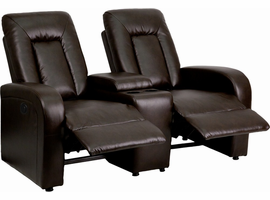 Flash Furniture Eclipse Series 2-Seat Motorized, Push Button & Automated Reclining Brown Leather Theater Seating Unit with Cup Holders