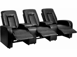 Flash Furniture Eclipse Series 3-Seat Motorized, Push Button & Automated Reclining Black Leather Theater Seating Unit with Cup Holders