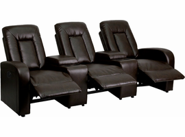 Flash Furniture Eclipse Series 3-Seat Motorized, Push Button & Automated Reclining Brown Leather Theater Seating Unit with Cup Holders