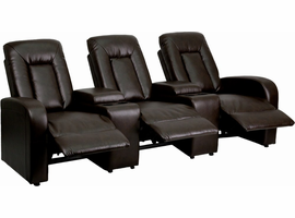 Flash Furniture Eclipse Series 3-Seat Reclining Brown Leather Theater Seating Unit with Cup Holders