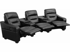 Flash Furniture Futura Series 3-Seat Reclining Black Leather Theater Seating Unit with Cup Holders