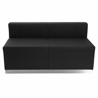 Flash Furniture HERCULES Alon Series Black Leather Loveseat with Brushed Stainless Steel Base