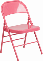 Flash Furniture HERCULES COLORBURST Series Bubblegum Pink Triple Braced & Double Hinged Metal Folding Chair