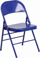 Flash Furniture HERCULES COLORBURST Series Cobalt Blue Triple Braced & Double Hinged Metal Folding Chair