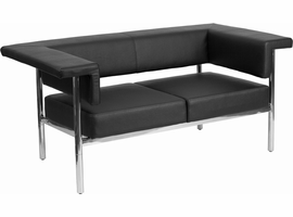 Flash Furniture HERCULES Fusion Series Contemporary Black Leather Loveseat with Stainless Steel Frame