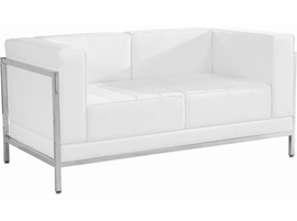 Flash Furniture HERCULES Imagination Series Contemporary White Leather Loveseat with Encasing Frame