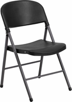 Flash Furniture HERCULES Series 330 lb. Capacity Black Plastic Folding Chair with Charcoal Frame