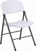 Flash Furniture HERCULES Series 330 lb. Capacity White Plastic Folding Chair with Charcoal Frame