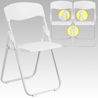 Flash Furniture HERCULES Series 880 lb. Capacity Heavy Duty White Plastic Folding Chair with Built-in Ganging Brackets