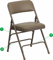 Flash Furniture HERCULES Series Curved Triple Braced & Double Hinged Beige Vinyl Upholstered Metal Folding Chair