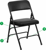 Flash Furniture HERCULES Series Curved Triple Braced & Double Hinged Black Vinyl Upholstered Metal Folding Chair