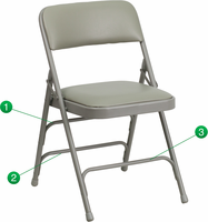 Flash Furniture HERCULES Series Curved Triple Braced & Double Hinged Gray Vinyl Upholstered Metal Folding Chair