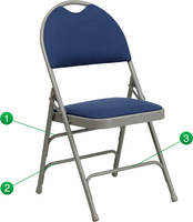 Flash Furniture HERCULES Series Extra Large Ultra-Premium Triple Braced Navy Fabric Metal Folding Chair with Easy-Carry Handle