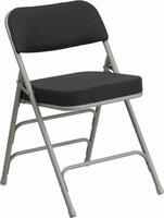 Flash Furniture HERCULES Series Premium Curved Triple Braced & Double Hinged Black Pin-Dot Fabric Upholstered Metal Folding Chair