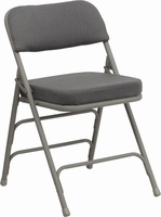 Flash Furniture HERCULES Series Premium Curved Triple Braced & Double Hinged Gray Fabric Upholstered Metal Folding Chair