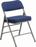 Flash Furniture HERCULES Series Premium Curved Triple Braced & Double Hinged Navy Fabric Upholstered Metal Folding Chair
