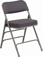 Flash Furniture HERCULES Series Premium Curved Triple Braced & Quad Hinged Gray Fabric Upholstered Metal Folding Chair
