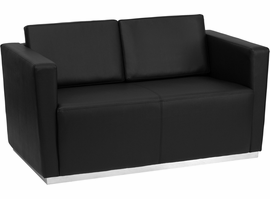 Flash Furniture HERCULES Trinity Series Contemporary Black Leather Loveseat with Stainless Steel Base