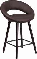 Flash Furniture Kelsey Series 24'' High Contemporary Brown Vinyl Counter Height Stool with Cappuccino Wood Frame