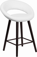 Flash Furniture Kelsey Series 24'' High Contemporary White Vinyl Counter Height Stool with Cappuccino Wood Frame
