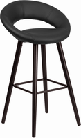 Flash Furniture Kelsey Series 29'' High Contemporary Black Vinyl Barstool with Cappuccino Wood Frame