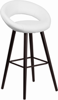 Flash Furniture Kelsey Series 29'' High Contemporary White Vinyl Barstool with Cappuccino Wood Frame