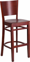 Flash Furniture Lacey Series Solid Back Mahogany Wooden Restaurant Barstool