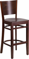 Flash Furniture Lacey Series Solid Back Walnut Wooden Restaurant Barstool