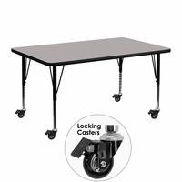 Flash Furniture Mobile 24''W x 48''L Rectangular Activity Table with 1.25'' Thick High Pressure Grey Laminate Top and Height Adjustable Preschool Legs