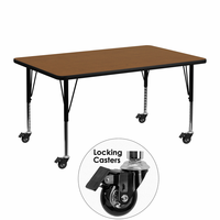 Flash Furniture Mobile 24''W x 48''L Rectangular Activity Table with 1.25'' Thick High Pressure Oak Laminate Top and Height Adjustable Preschool Legs