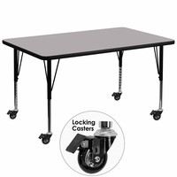 Flash Furniture Mobile 24''W x 48''L Rectangular Activity Table with Grey Thermal Fused Laminate Top and Height Adjustable Preschool Legs