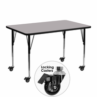 Flash Furniture Mobile 24''W x 48''L Rectangular Activity Table with Grey Thermal Fused Laminate Top and Standard Height Adjustable Legs