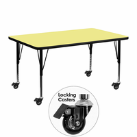 Flash Furniture Mobile 24''W x 48''L Rectangular Activity Table with Yellow Thermal Fused Laminate Top and Height Adjustable Preschool Legs