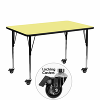 Flash Furniture Mobile 24''W x 48''L Rectangular Activity Table with Yellow Thermal Fused Laminate Top and Standard Height Adjustable Legs