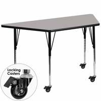 Flash Furniture Mobile 25.5''W x 46.25''L Trapezoid Activity Table with 1.25'' Thick High Pressure Grey Laminate Top and Standard Height Adjustable Legs