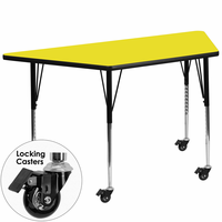 Flash Furniture Mobile 25.5''W x 46.25''L Trapezoid Activity Table with 1.25'' Thick High Pressure Yellow Laminate Top and Standard Height Adjustable Legs