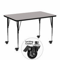 Flash Furniture Mobile 30''W x 48''L Rectangular Activity Table with 1.25'' Thick High Pressure Grey Laminate Top and Standard Height Adjustable Legs