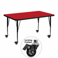 Flash Furniture Mobile 30''W x 48''L Rectangular Activity Table with 1.25'' Thick High Pressure Red Laminate Top and Height Adjustable Preschool Legs