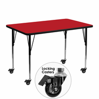 Flash Furniture Mobile 30''W x 48''L Rectangular Activity Table with 1.25'' Thick High Pressure Red Laminate Top and Standard Height Adjustable Legs